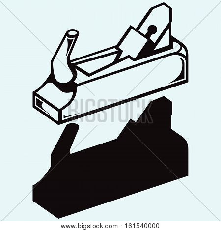 Wood tool. Fuganok. Isolated on blue background. Vector silhouettes