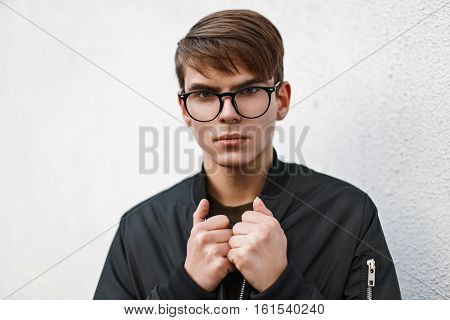 Fashionable Young Guy In Stylish Glasses On White Background.
