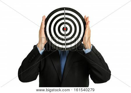businessman holding a dartboard abstract business concept