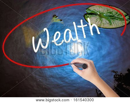 Woman Hand Writing Wealth With Marker Over Transparent Board