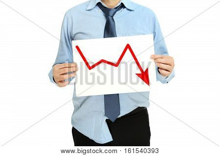 desperate businessman with graph business failure concept
