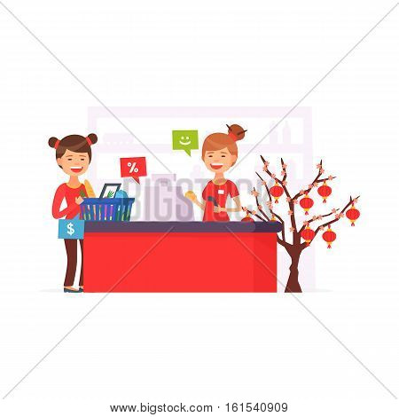 Cute supermarket store. Chinese New Yea supermarket. Xmas in store. Girl at the cash register supermarket. Cartoon style. Vector illustration