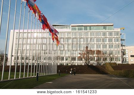 STRASBOURG, FRANCE - DECEMBER 9, 2016: Building of Parliamentary Assembly of the Council of Europe. Assembly was founded in 1949, and now is one of the two statutory organs of the Council of Europe