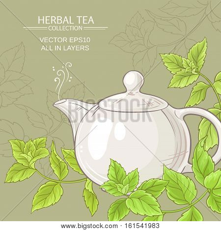 peppermint tea in teapot  and peppermint leaves