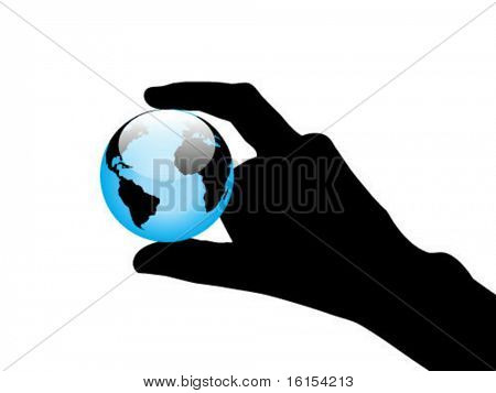 Hand holding blue interface orb with a world map - vector illustration