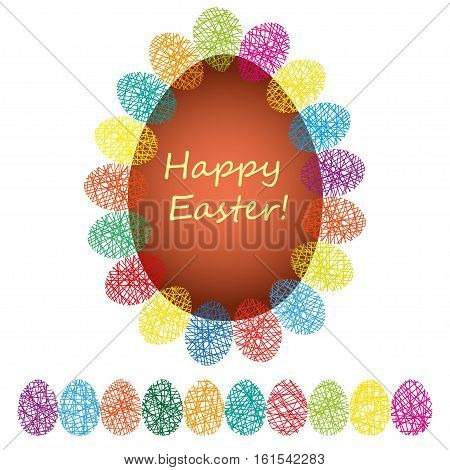Easter tag. Egg banner with ribbon and bow. Festive background. Decorative illustration for print, web