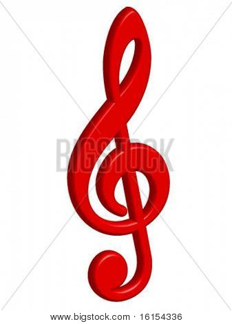3d red treble clef vector illustration