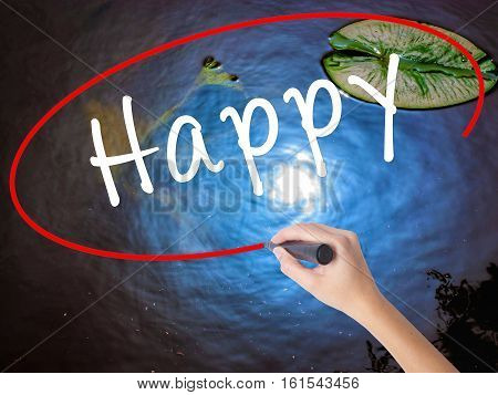 Woman Hand Writing Happy Marker Over Transparent Board