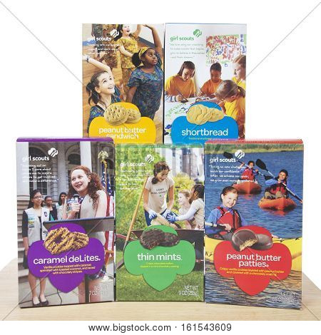 ALAMEDA CA - FEBRUARY 09 2016: Five boxes core flavors Girl Scout Cookies from ABC Bakers. Thin Mints Peanut butter Patties Carmel Delights Peanut Butter Sandwich and shortbread cookies.