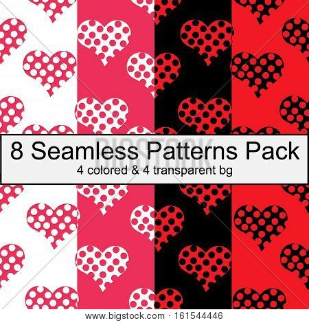 Eight seamless patterns pack with hearts valentines day love white pink black red colors transparent bg