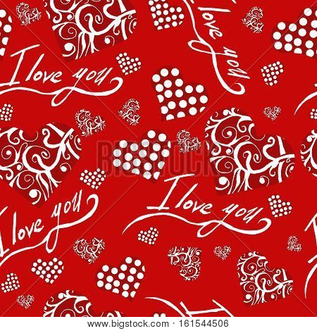 Seamless pattern with red hearts i love you valentines day dots abstract hearts