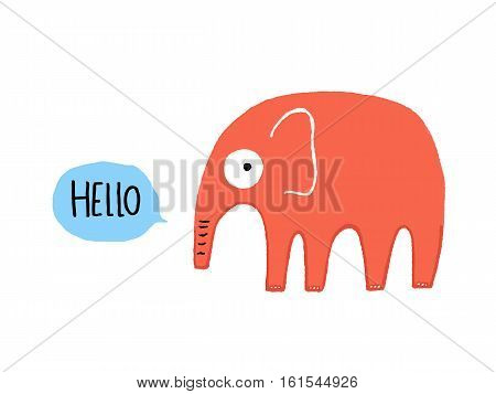 Hello Elephant character, hand drawn vector illustration