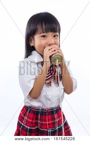 Asian Chinese Little Girl Playing Retro Tin Can Phone
