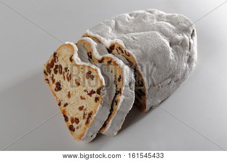 Christmas stollen on white background