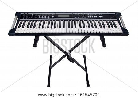 Isolated rack for synthesizer on white background