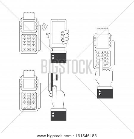 Payment icon set. Human hands holding credit cards smartphone paying with POS. Line icons flat style vector