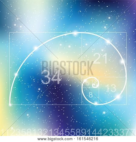 Golden ratio - proportion. Universe with stars. Matrix of glowing stars. Space background.