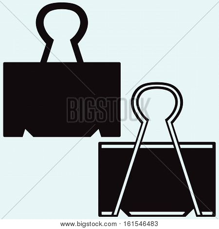 Paper clip. Isolated on blue background. Vector silhouettes