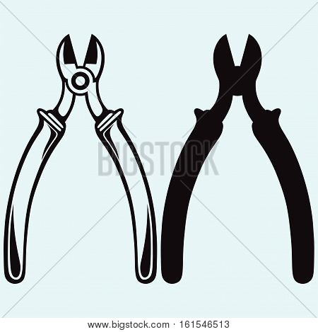 Nippers icon. Isolated on blue background. Vector silhouettes