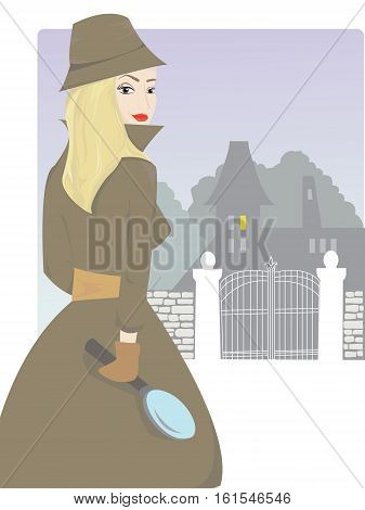 Vector illustration of young blond detective woman being on a trace of a serious crime.