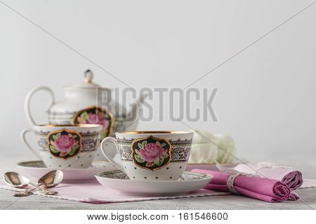 Tea With Tea Pot On White Background.