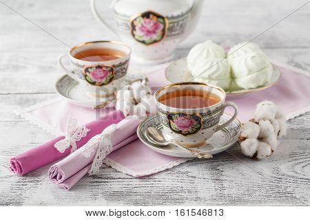 Tea With Tea Pot On White Background