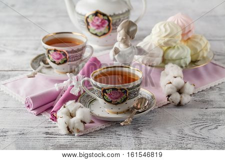 Tea With Tea Pot On White Background