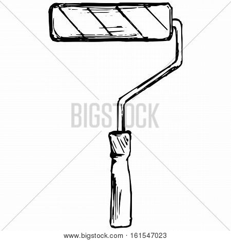 Roller for painting. Tools for drawing. Isolated on white background. Vector doodle style