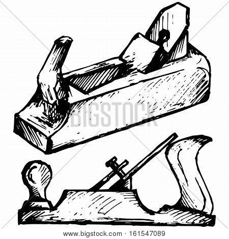 Wood tool. Fuganok. Isolated on white background. Vector doodle style