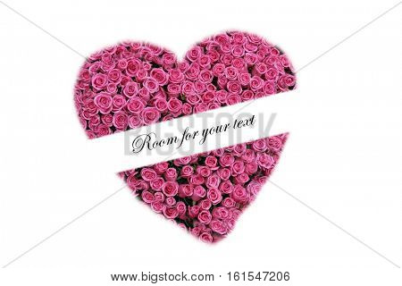 Hot pink rose heart with a white banner across the front with room for your text. isolated on white with room for text.