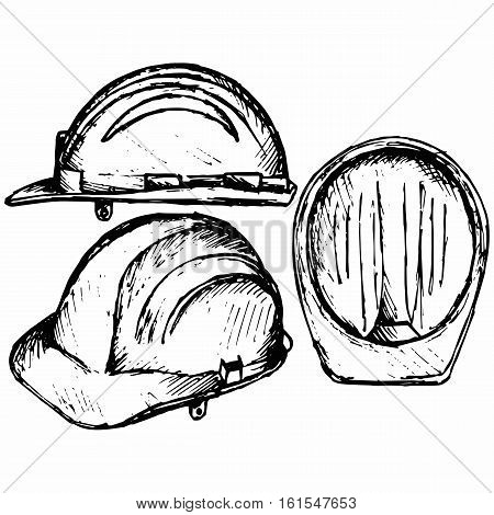 Safety helmet. Isolated on white background. Vector doodle style