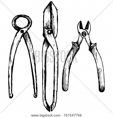 Nipper. Old used iron cutting pliers tongs. Shears for cutting sheet metal. Isolated on white background. Vector doodle style