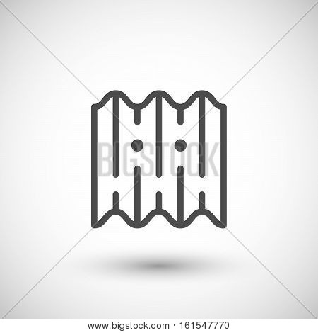 Asbestos roof tile line icon isolated on grey. Vector illustration