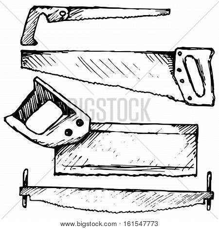 Hand saw. Two-handed saw. Isolated on white background. Vector doodle style