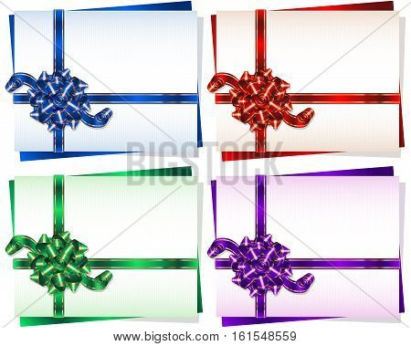 Bow with a ribbon on a gift card frame; Vector set Eps10; Bow-knot version A
