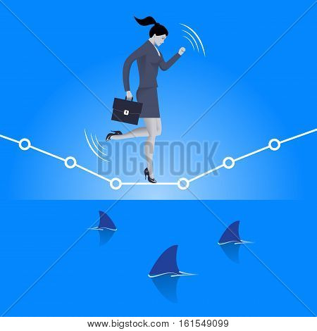 Balancing over dangerous water business concept. Confident business woman in suit with case balancing on graph over the sea full of shark fins. High concurrent business.