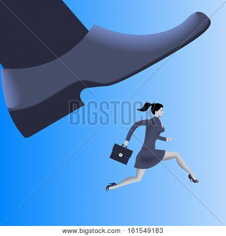 Corporate vs small business competition concept. Huge foot of corporate business trying to smash running business woman with case. Vector illustration. Use as template logo background.