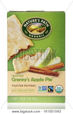 Alameda CA - March 28 2016: One 11 ounce box of Nature's Path Organic Toaster Pastries. Frosted Granny's Apple Pie flavor. Made with real organic fruit.