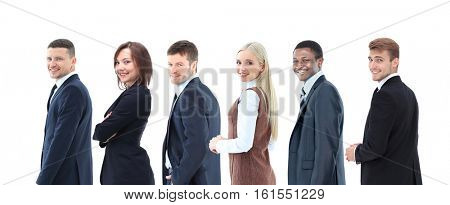 Collage with happy smiling young business people
