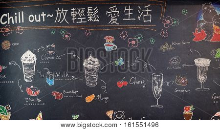 HANGZHOU - FEBRUARY 21: Blackboard with offerings of a restaurant in luxury shopping mall in Hangzhou city, China, February 21, 2016.