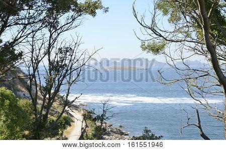 Estelas Islands from the coast of Bayona Galicia Spain