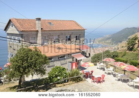 LA GUARDIA, SPAIN - AUGUST 7, 2016: Restaurant at the viewpoint of the mountain of Santa Tecla in La Guarda Pontevedra Galicia Spain.