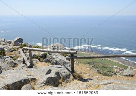 View of the Atlantic Ocean from the mountain of Santa Tecla in Galicia Spain.