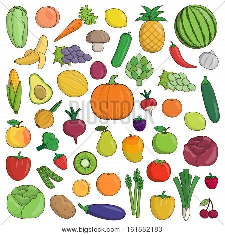 XXL collection of flat fruit and vegetable nutrition icons. Pineapple, watermelon, grapes and other icons for healthy nutrition balance.
