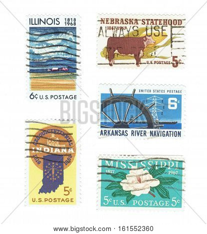 UNITED STATES: Arrange of different used stamps between 1817 - 1968, Illinois, Nebraska. Indiana, Arkansas and Mississippi. Printed in United States of America