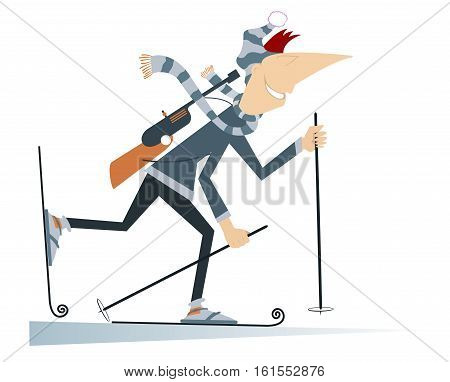 Biathlon competitor. Smiling cartoon biathlon competitor illustration