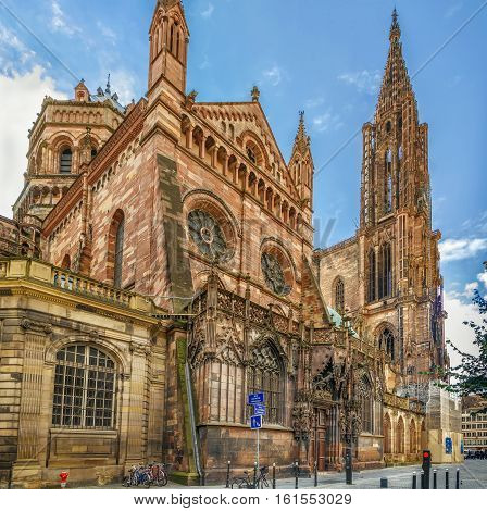 Strasbourg Cathedral also known as Strasbourg Minster is a Gothic Roman Catholic cathedral in Strasbourg Alsace France. North portal