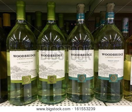 San Leandro CA - April 08 2016: Bottles of Woodbridge white wines by Robert Mondavi.Sauvignon Blanc and Pinot Grigio.