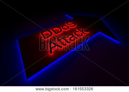 DDoS Attack is presented in the form of neon 3d illustration