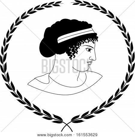 Hand drawn decorative logo with head of ancient Greek women. Vector illustration.